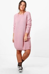 Boohoo Harley Knitted Slouchy Dress Blush