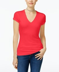 Inc International Concepts Ribbed V Neck Top Only At Macy's Hibiscus Bloom