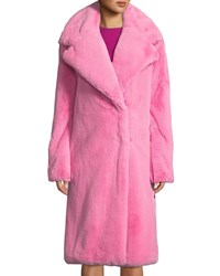 Milly Riley Long Faux Fur Coat Bubblegum