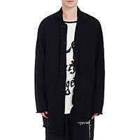 Yohji Yamamoto Pour Homme Men's Boiled Hem Long Cardigan Black Blue Black Blue
