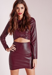 Missguided Faux Leather Asymmetric Mini Skirt Burgundy Burgundy