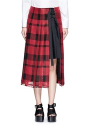 Sacai Check Plaid Pleated Side Split Skirt Red