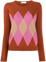 Ballantyne Argyle Knit Jumper Orange