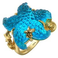 Tagliamonte Marina Collection Blue Starfish 18K Gold Ring