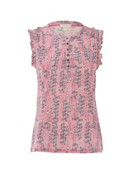 White Stuff Frilly Sleeveless Jersey Shirt Pink