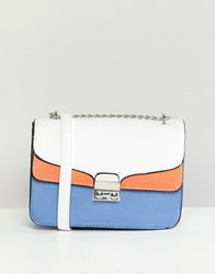 Stradivarius Colourblock Xbody Bag With Chain Handle Multi