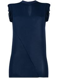 Dsquared2 Ruched Cap Sleeve Top Blue