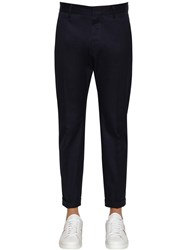 Dsquared 17Cm Admiral Fit Cotton Twill Pants Navy
