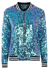 The Taylor Mermaid Sequin Bomber Jacket By Jaded London Green