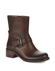 424 Fifth Wann Leather Combat Boots Brown
