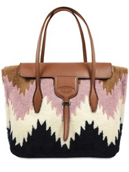 Tod's Medium Shearling Joy Bag Multicolor
