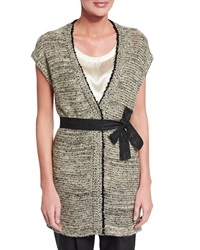 Brunello Cucinelli Paillette Embellished Sleeveless Sweater W Belt Black White