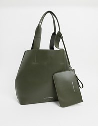 French Connection Leather Tote Bag With Pouch Green