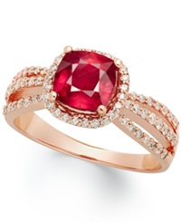 Macy's 14K Rose Gold Ring Ruby 1 9 10 Ct. T.W. And Diamond 1 2 Ct. T.W. Cushion Cut Ring
