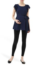 Women's Kimi And Kai 'Quinn' Flutter Sleeve Belted Maternity Top Navy