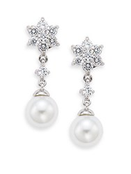 Saks Fifth Avenue 12Mm Round Freshwater Pearl Flower Drop Earrings Rhodium