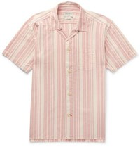 Oliver Spencer Loungewear Farrow Striped Organic Cotton Pyjama Shirt Pink