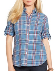 Lauren Ralph Lauren Plaid Button Front Shirt Blue