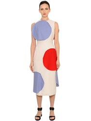 Patricia Padron Polka Dot Patches Cool Wool Midi Dress