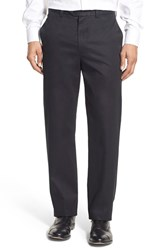 Nordstrom Men's Big And Tall Men's Shop 'Classic' Supima Cotton Flat Front Trousers Black Caviar