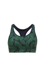 The Upside Anna Palm Leaf Print Performance Bra Green Navy
