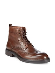 Saks Fifth Avenue Arrezzo Wingtip Leather Ankle Boots Brown
