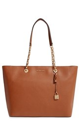 Michael Michael Kors Medium Mercer Leather Tote Brown Luggage Gold