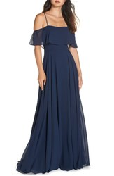 Hayley Paige Occasions Chiffon Cold Shoulder Gown Indigo