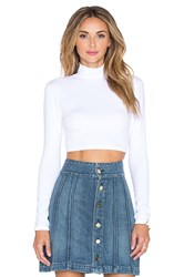 Susana Monaco Turtleneck Crop Top White