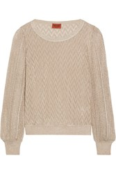 Missoni Metallic Crochet Knit Sweater Bronze