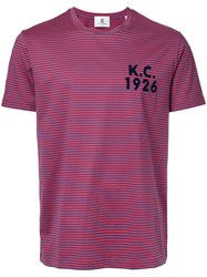 Kent And Curwen Striped T Shirt Red