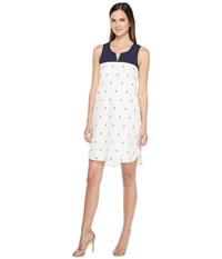 Hatley Embroidered Notch Neck Dress Mini Porcelain Women's Dress White