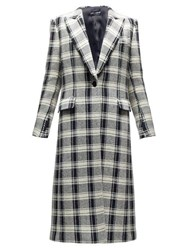 Dolce And Gabbana Checked Single Breasted Wool Blend Coat Black White