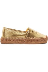 Dolce And Gabbana Logo Embossed Metallic Leather Espadrilles Gold