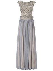 Adrianna Papell Beaded Top And Tulle Skirt Dress Silver Grey