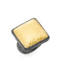 Gurhan Amulet 24K Yellow Gold And Blackened Sterling Silver Square Ring Gold Silver