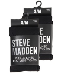 Steve Madden 2 Pack Fleece Solid And Rib Footless Tight Black Hose