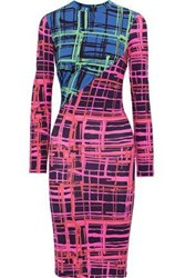 House Of Holland Woman Paneled Checked Stretch Jersey Dress Multicolor