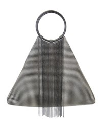 Whiting And Davis Triangle Fringe Clutch Bag Gray Black