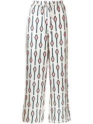 Alysi Geometric Print Trousers Neutrals