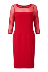James Lakeland Sheer Sleeve Dress Red