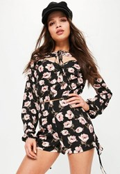 Missguided Black Tie Front Floral Printed Crop Blouse