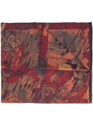 Etro Abstract Print Scarf Men Silk Linen Flax One Size Blue