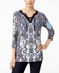 Charter Club Paisley Print Lace Up Top Only At Macy's Avairy Blue Combo
