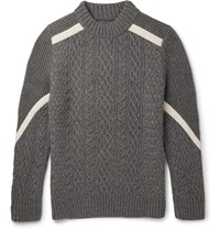 Sacai Cable And Waffle Knit Wool Sweater Gray