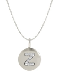 Macy's 14K White Gold Necklace Diamond Accent Letter Z Disk Pendant