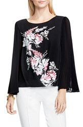 Vince Camuto Women's Winter Garland Pleated Sleeve Blouse
