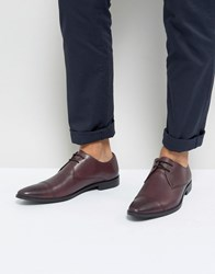 Frank Wright Toe Cap Derby Shoes In Burgundy Leather Red
