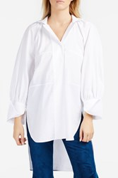 Ellery Faint High Neck Shirt White