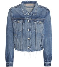 Grlfrnd Cara Cropped Distressed Denim Jacket Blue